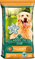 CLASSIC PETS DRY DOG FOOD BEEF & VEGETABLE FLAVOR